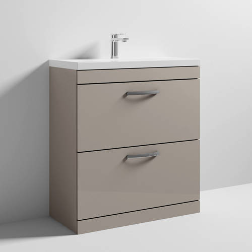 Additional image for Vanity Unit With 2 x Drawers & Basin 800mm (Stone Grey).