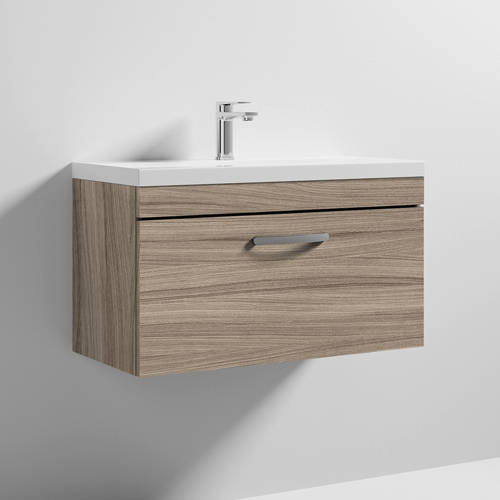 Additional image for Wall Vanity Unit With 1 x Drawer & Basin 800mm (Driftwood).