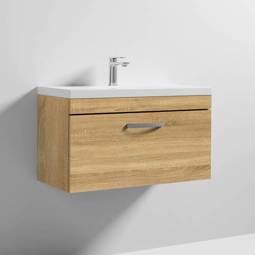 Additional image for Wall Vanity Unit With 1 x Drawer & Basin 800mm (Natural Oak).