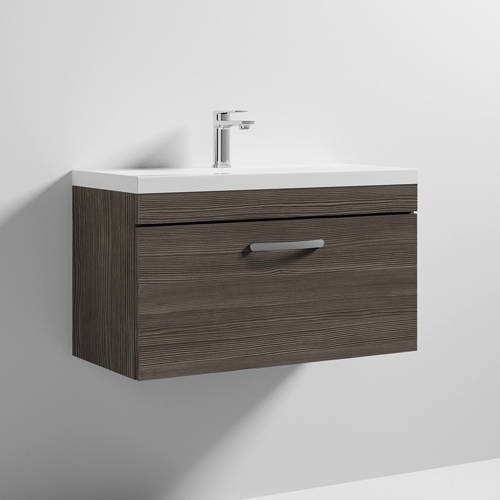 Additional image for Wall Vanity Unit With 1 x Drawer & Basin 800mm (Grey Avola).