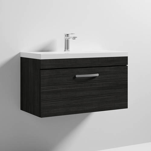 Additional image for Wall Vanity Unit With 1 x Drawer & Basin 800mm (Hacienda).