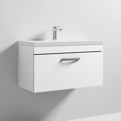 Additional image for Wall Vanity Unit With 1 x Drawer & Basin 800mm (Gloss White).
