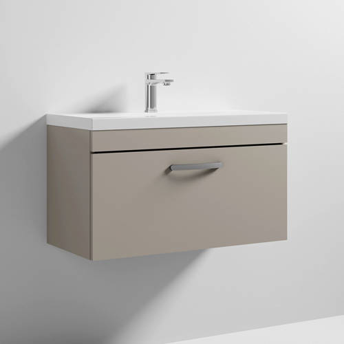 Additional image for Wall Vanity Unit With 1 x Drawer & Basin 800mm (Stone Grey).