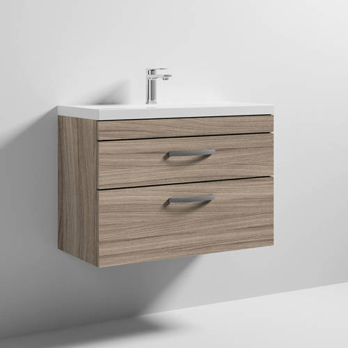 Additional image for Wall Vanity Unit With 2 x Drawer & Basin 800mm (Driftwood).