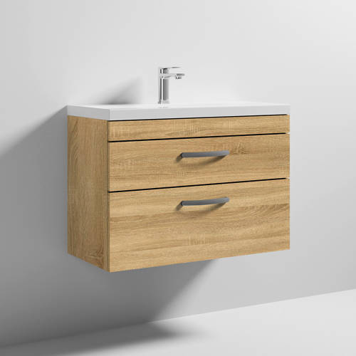 Additional image for Wall Vanity Unit With 2 x Drawer & Basin 800mm (Natural Oak).