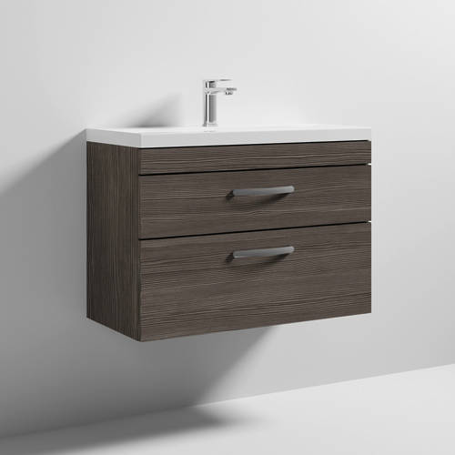 Additional image for Wall Vanity Unit With 2 x Drawer & Basin 800mm (Grey Avola).
