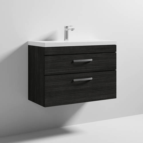 Additional image for Wall Vanity Unit With 2 x Drawer & Basin 800mm (Hacienda).