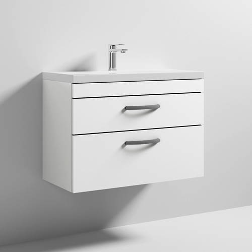 Additional image for Wall Vanity Unit With 2 x Drawer & Basin 800mm (Gloss White).