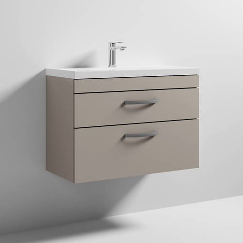 Additional image for Wall Vanity Unit With 2 x Drawer & Basin 800mm (Stone Grey).