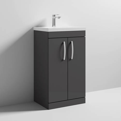 Additional image for Vanity Unit With 2 x Doors & Basin 500mm (Gloss Grey).