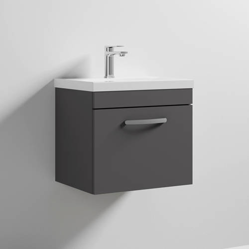 Additional image for Wall Vanity Unit With 1 x Drawer & Basin 500mm (Gloss Grey).