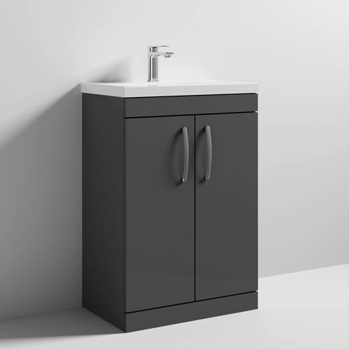 Additional image for Vanity Unit With 2 x Doors & Basin 600mm (Gloss Grey).