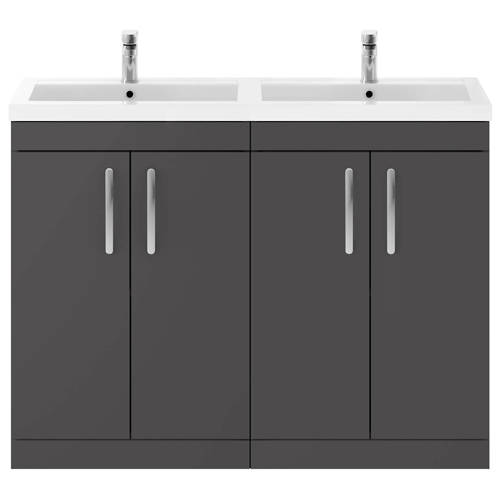 Additional image for Vanity Unit With 4 x Doors & Double Basin (Gloss Grey).