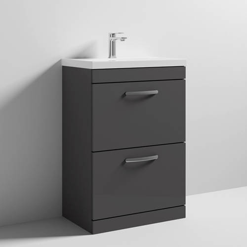 Additional image for Vanity Unit With 2 x Drawers & Basin 600mm (Gloss Grey).