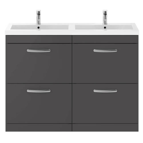Additional image for Vanity Unit With 4 x Drawers & Double Basin (Gloss Grey).
