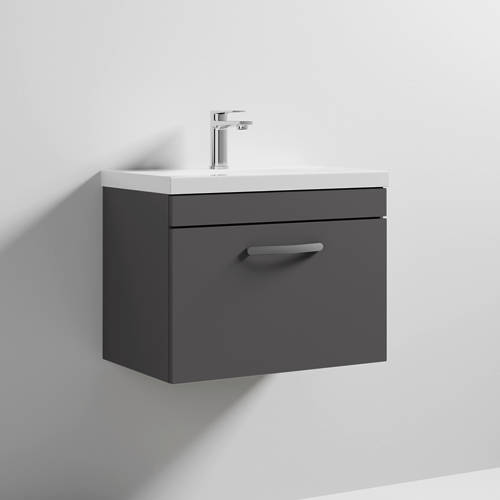 Additional image for Wall Vanity Unit With 1 x Drawer & Basin 600mm (Gloss Grey).