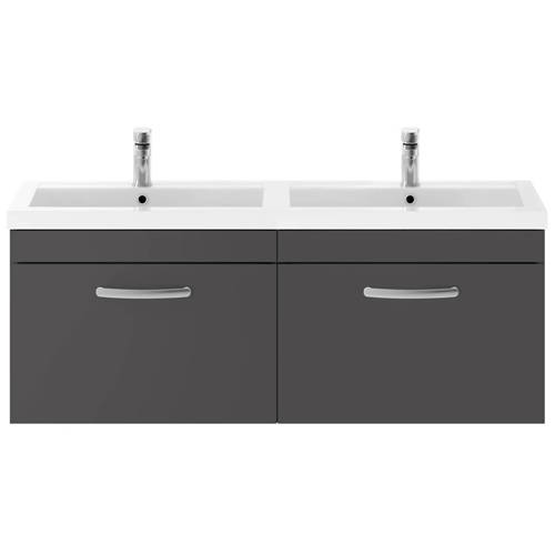 Additional image for Wall Vanity Unit With 2 x Drawers & Double Basin (Gloss Grey).