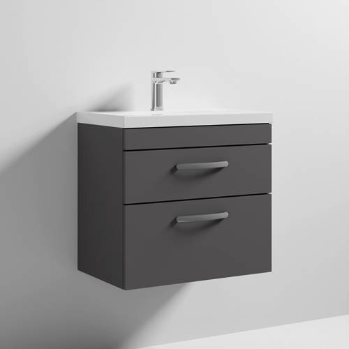 Additional image for Wall Vanity Unit With 2 x Drawer & Basin 600mm (Gloss Grey).