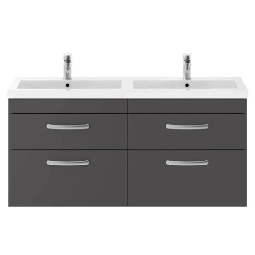 Additional image for Wall Vanity Unit With 4 x Drawers & Double Basin (Gloss Grey).