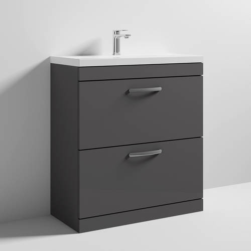 Additional image for Vanity Unit With 2 x Drawers & Basin 800mm (Gloss Grey).