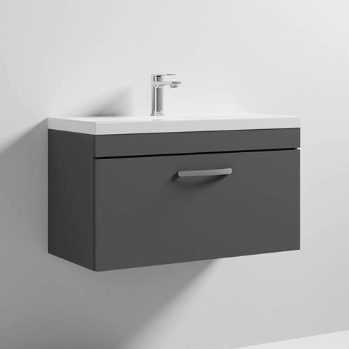 Additional image for Wall Vanity Unit With 1 x Drawer & Basin 800mm (Gloss Grey).