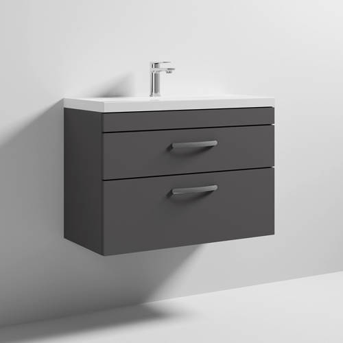 Additional image for Wall Vanity Unit With 2 x Drawer & Basin 800mm (Gloss Grey).