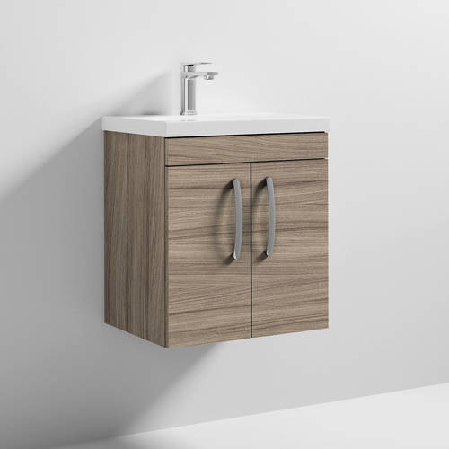 Additional image for Wall Vanity Unit With 2 x Doors & Basin 500mm (Driftwood).