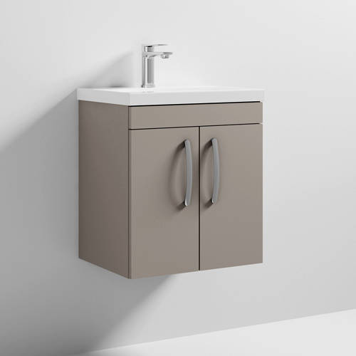 Additional image for Wall Vanity Unit With 2 x Doors & Basin 500mm (Stone Grey).