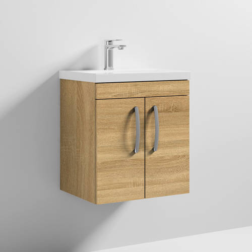 Additional image for Wall Vanity Unit With 2 x Doors & Basin 500mm (Natural Oak).