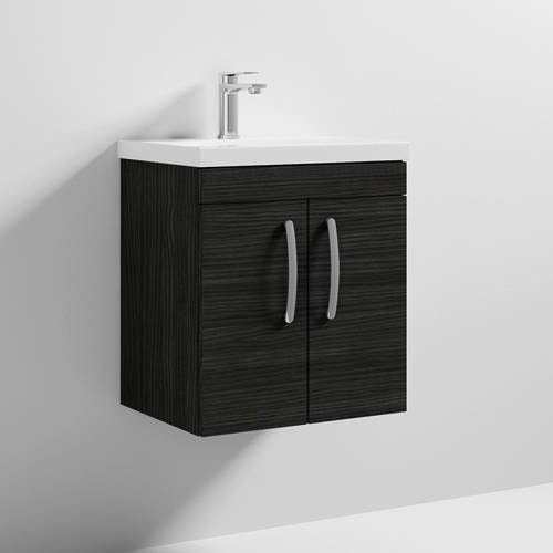 Additional image for Wall Vanity Unit With 2 x Doors & Basin 500mm (Hacienda Black).