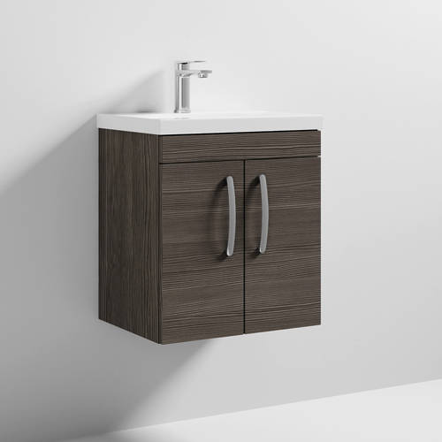 Additional image for Wall Vanity Unit With 2 x Doors & Basin 500mm (Brown Grey Avola).
