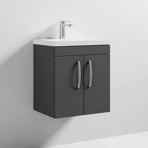 Additional image for Wall Vanity Unit With 2 x Doors & Basin 500mm (Gloss Grey).