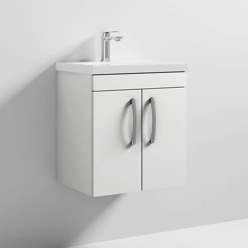 Additional image for Wall Vanity Unit With 2 x Doors & Basin 500mm (Gloss White).