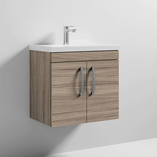 Additional image for Wall Vanity Unit With 2 x Doors & Basin 600mm (Driftwood).