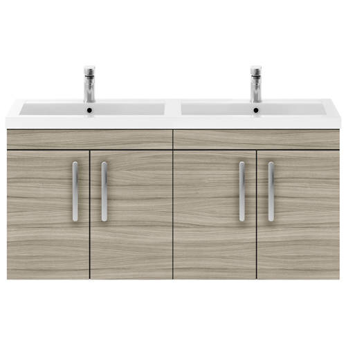 Additional image for Wall Vanity Unit With 4 x Doors & Double Basin (Driftwood).