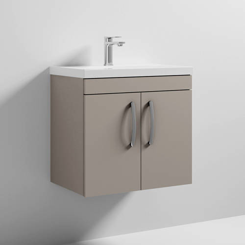 Additional image for Wall Vanity Unit With 2 x Doors & Basin 600mm (Stone Grey).