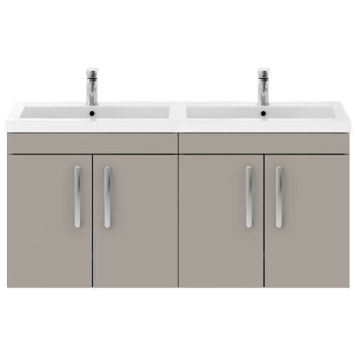 Additional image for Wall Vanity Unit With 4 x Doors & Double Basin (Stone Grey).