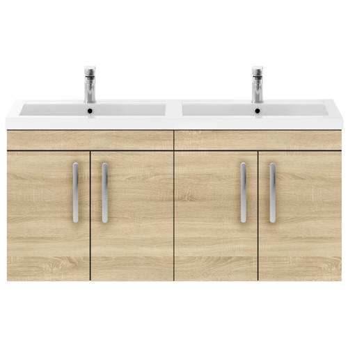 Additional image for Wall Vanity Unit With 4 x Doors & Double Basin (Natural Oak).