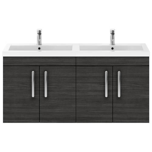 Additional image for Wall Vanity Unit With 4 x Doors & Double Basin (Hacienda).