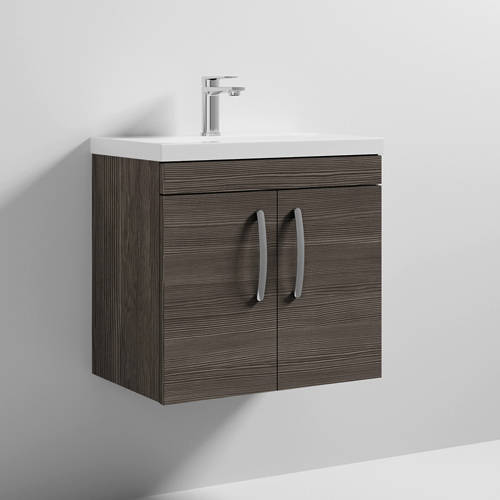 Additional image for Wall Vanity Unit With 2 x Doors & Basin 600mm (Brown Grey Avola).