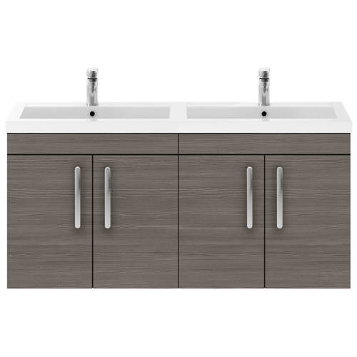 Additional image for Wall Vanity Unit With 4 x Doors & Double Basin (Grey Avola).