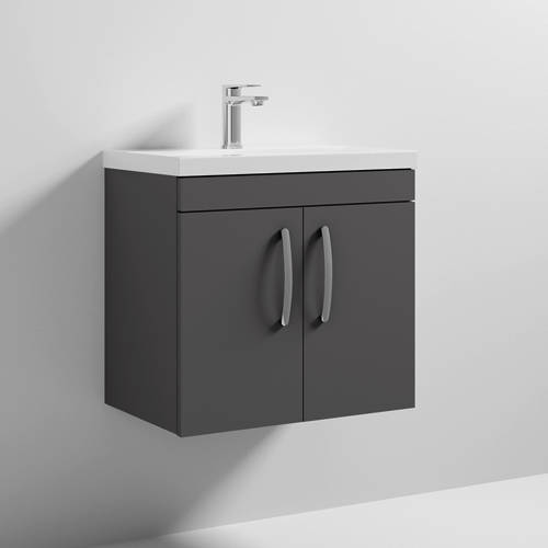 Additional image for Wall Vanity Unit With 2 x Doors & Basin 600mm (Gloss Grey).