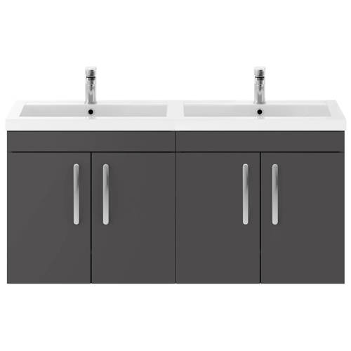 Additional image for Wall Vanity Unit With 4 x Doors & Double Basin (Gloss Grey).