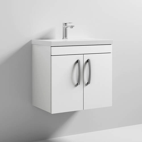 Additional image for Wall Vanity Unit With 2 x Doors & Basin 600mm (Gloss White).