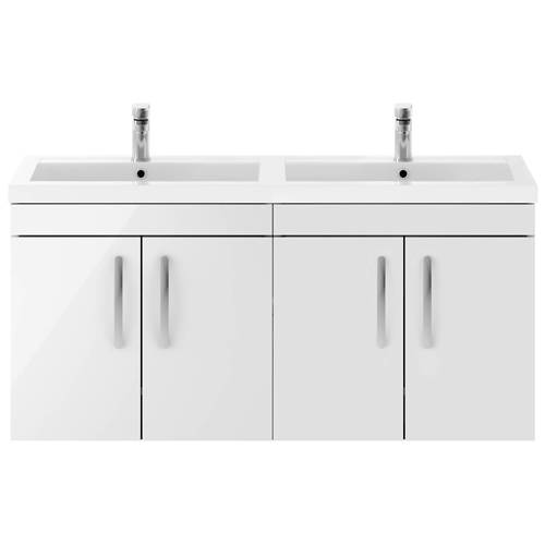 Additional image for Wall Vanity Unit With 4 x Doors & Double Basin (Gloss White).