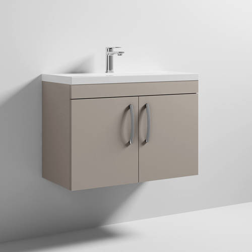 Additional image for Wall Vanity Unit With 2 x Doors & Basin 800mm (Stone Grey).