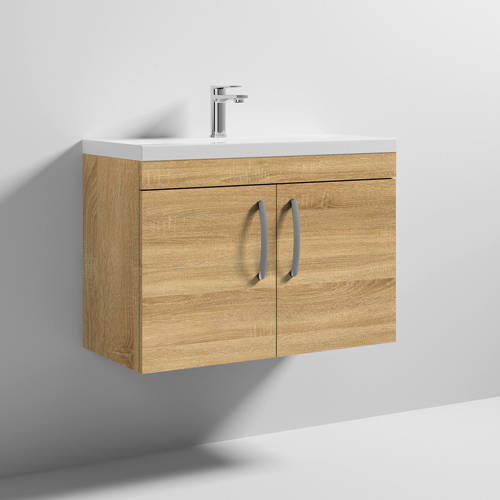 Additional image for Wall Vanity Unit With 2 x Doors & Basin 800mm (Natural Oak).