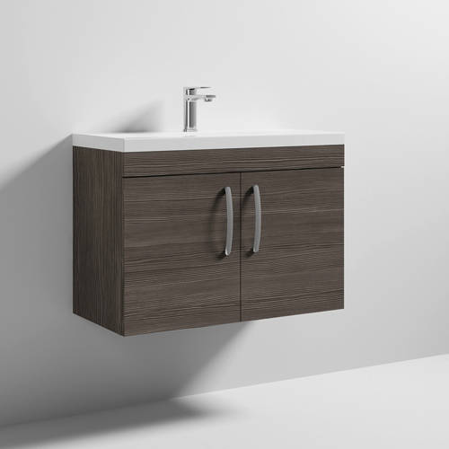 Additional image for Wall Vanity Unit With 2 x Doors & Basin 800mm (Brown Grey Avola).