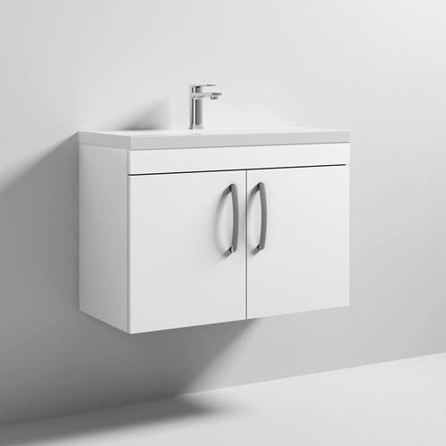 Additional image for Wall Vanity Unit With 2 x Doors & Basin 800mm (Gloss White).