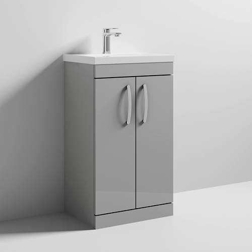 Additional image for Vanity Unit With 2 x Doors & Basin 500mm (Gloss Grey Mist).